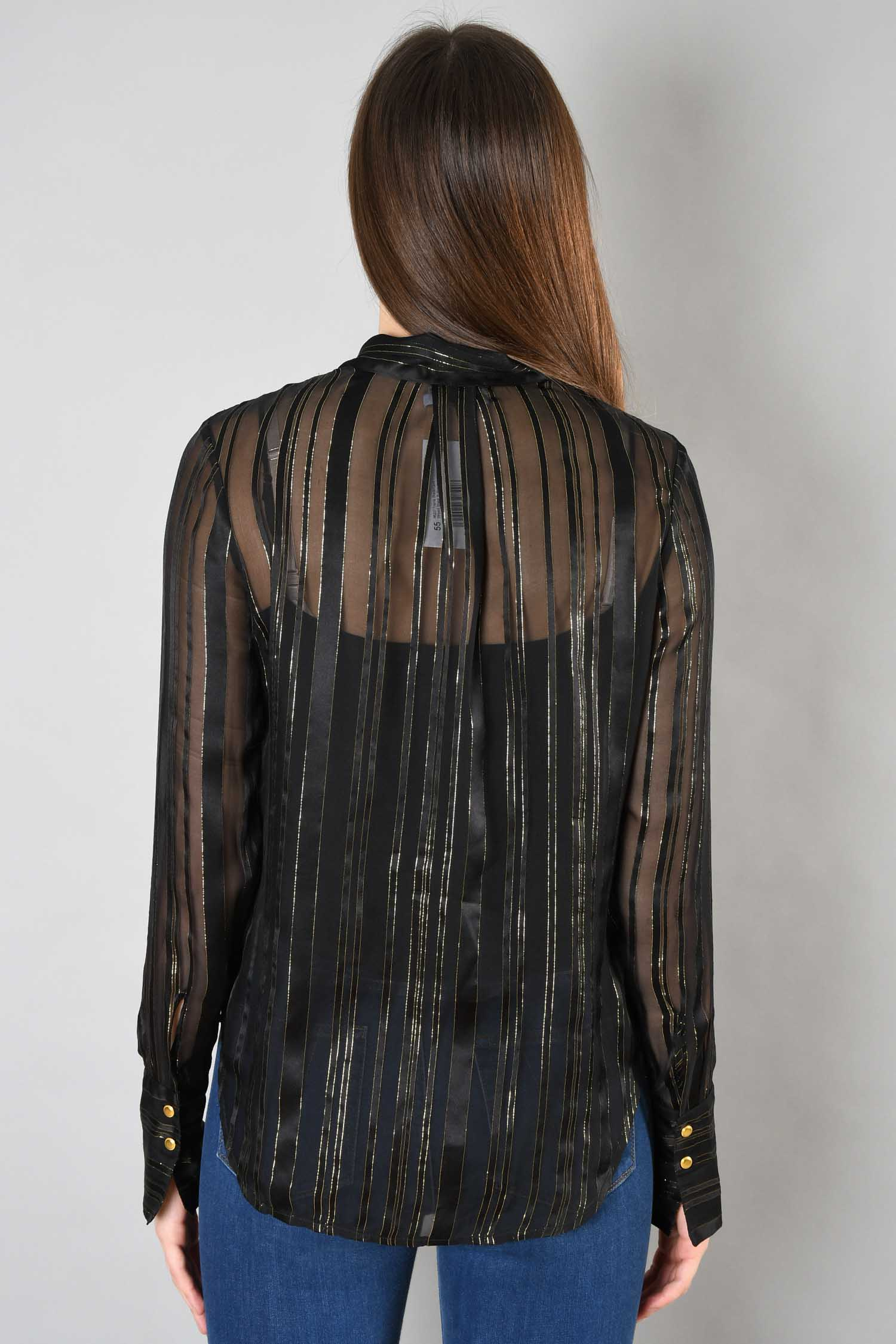 Frame Black/Gold Striped Sheer Button Up Size M