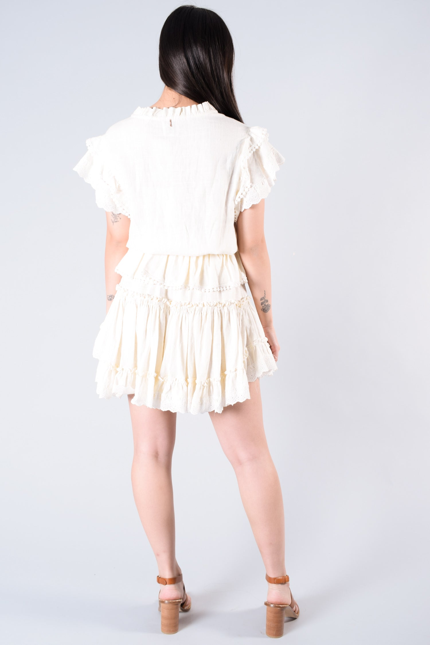 Misa Los Angeles Cream Ruffle Dress Size XS