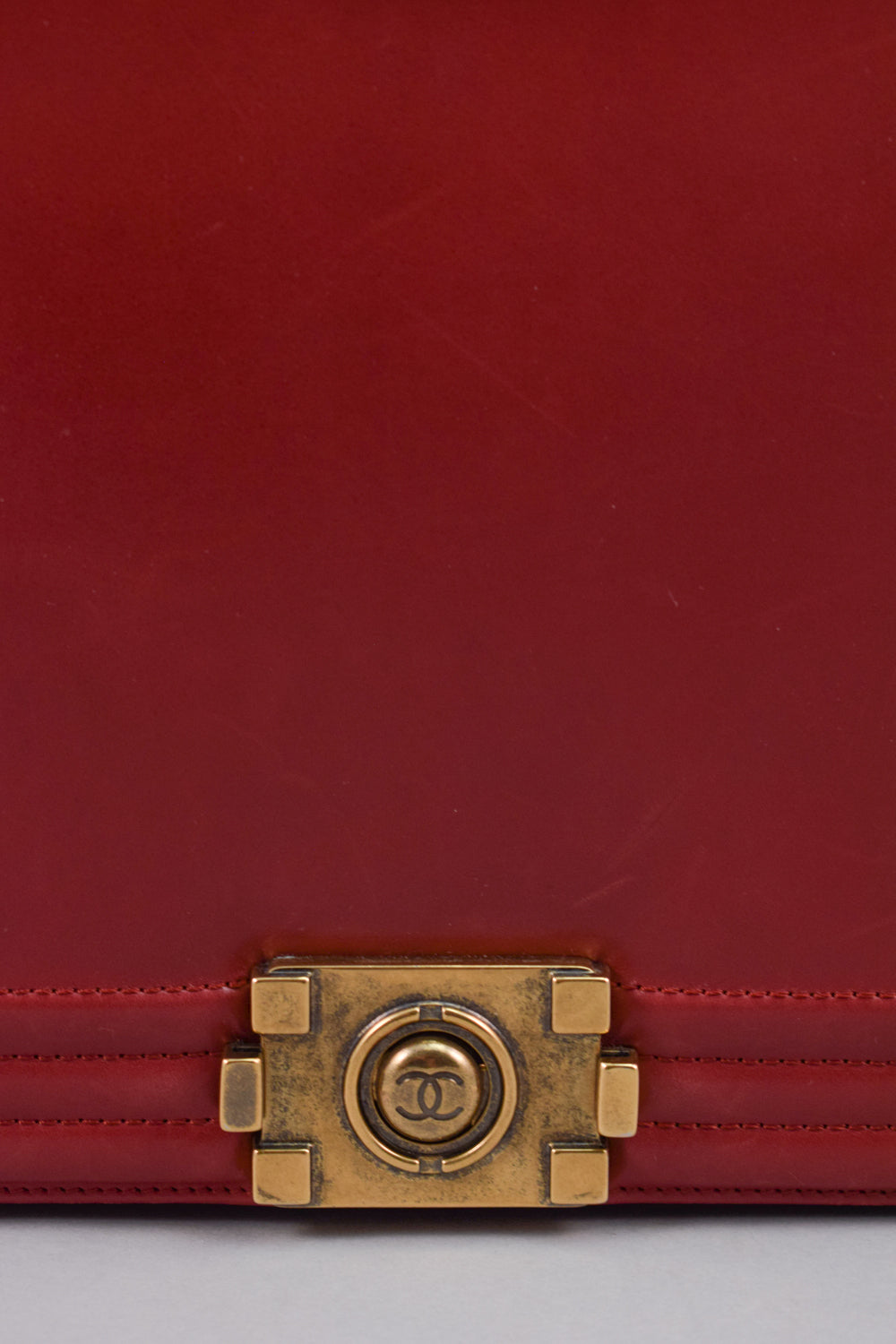 Chanel Red Smooth Calfskin Large Reverso Boy Bag