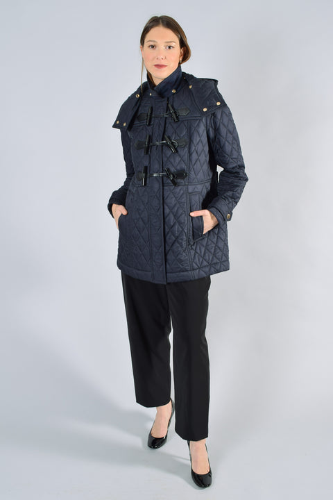 Burberry Brit Navy Quilted Toggle Cotton Filled Jacket Size L