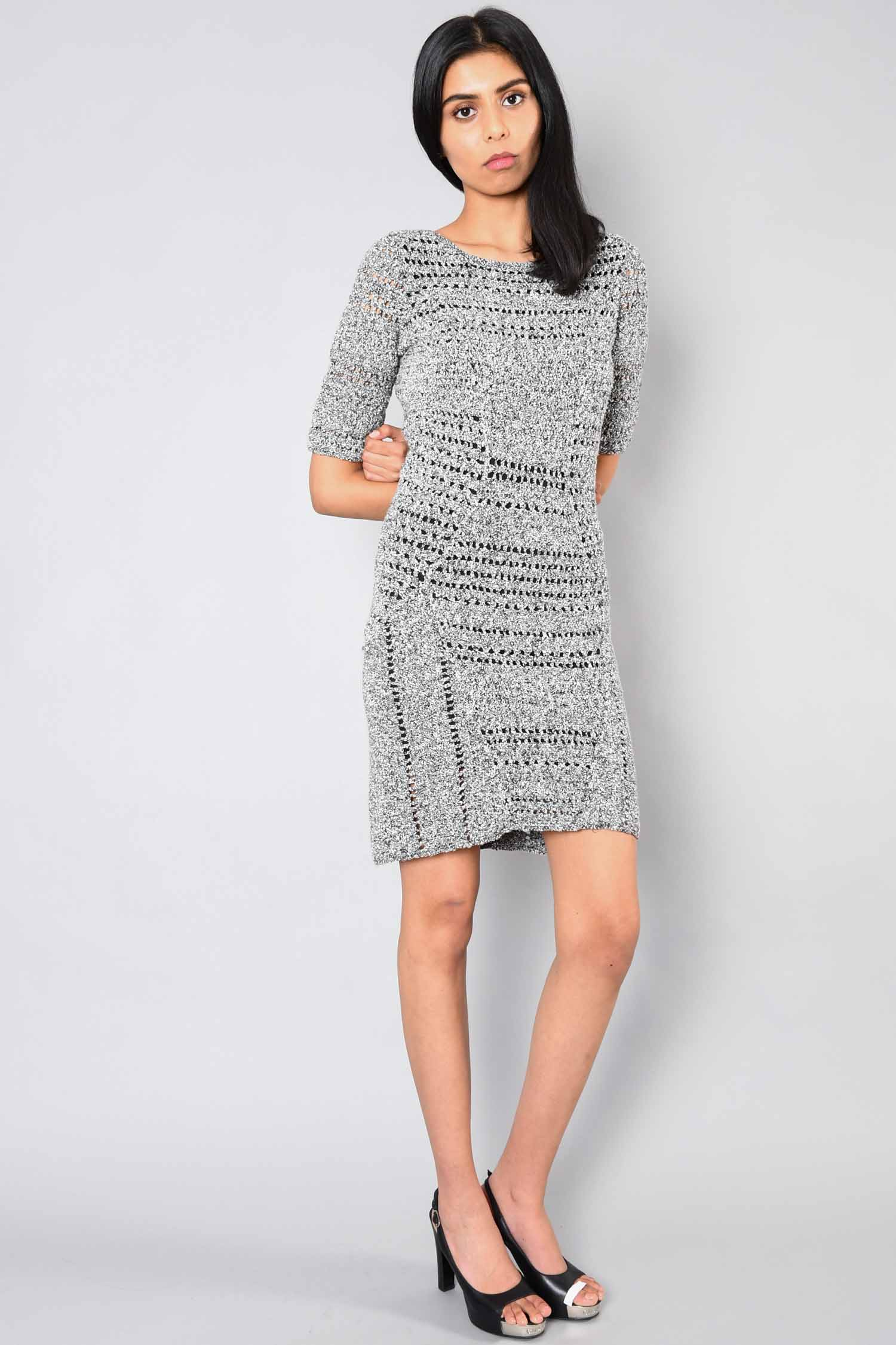 Rag & Bone Grey S/S Knit Openback Dress Size S