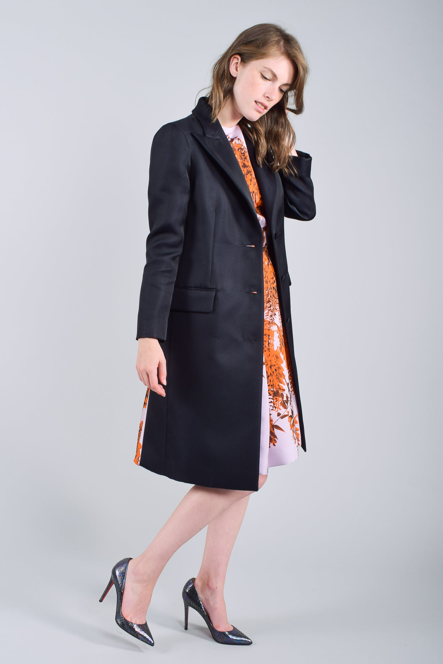 Christian Dior 2014 Pleated Coat w/ Floral Pleats Size 6