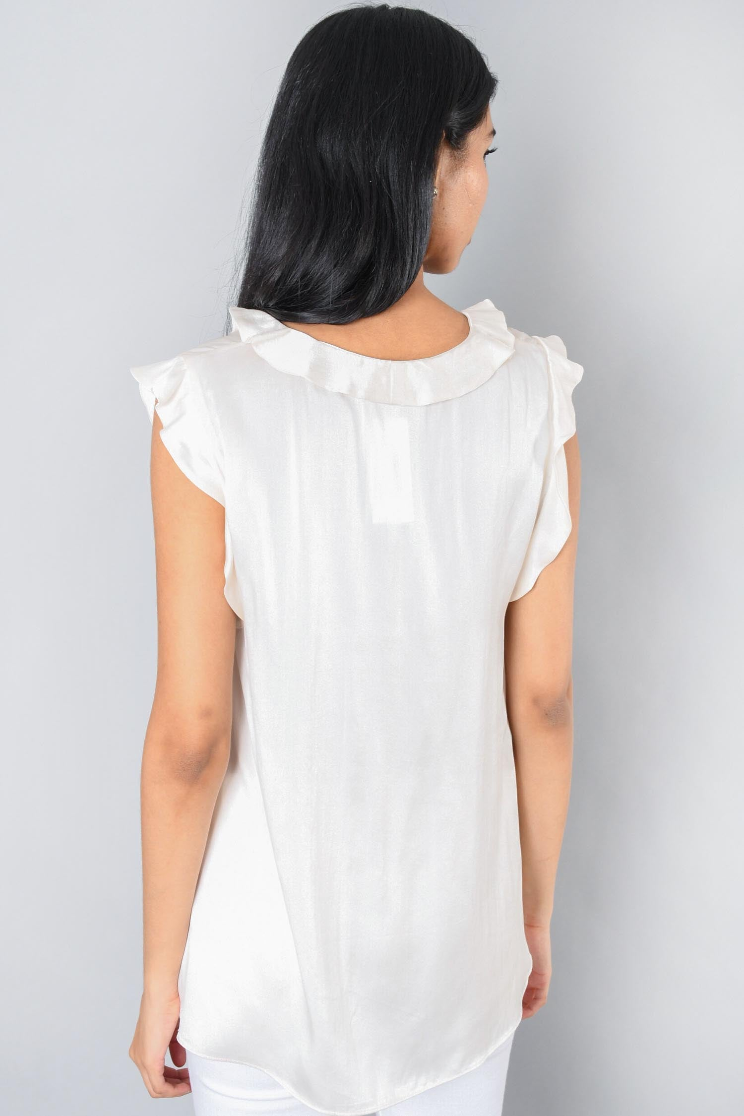 Zimmermann Cream Silk Ruffled Top Size 2