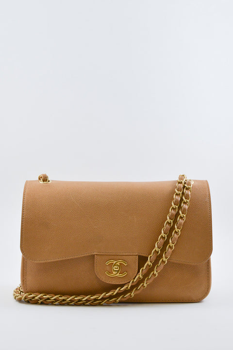 Chanel Beige Jumbo Double Flap
