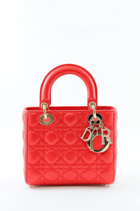 Dior Lady Dior Red with Gold Hardware 2018 Size S
