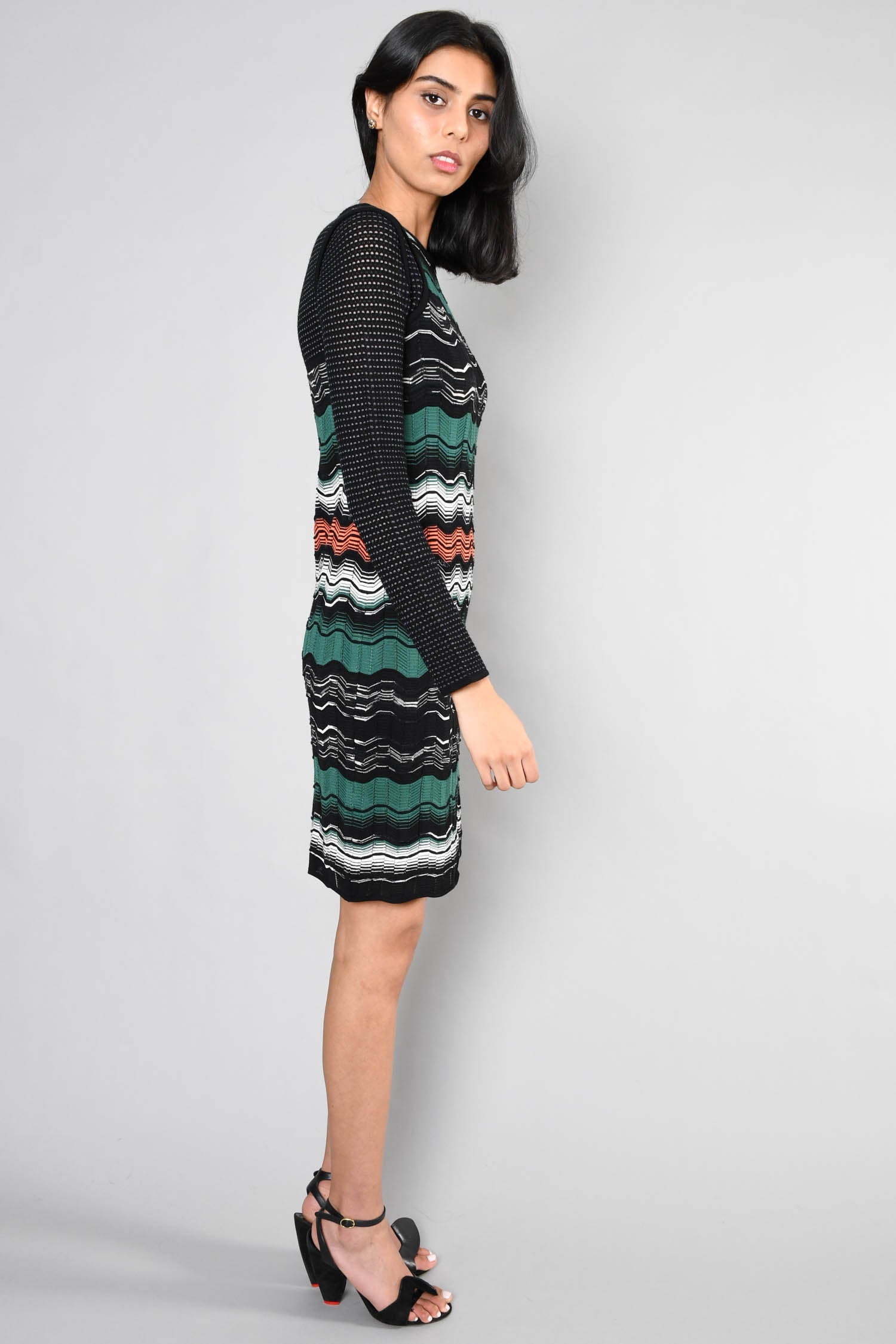 M Missoni Green/Black Printed Round Neck Sweater Dress Size 6 US