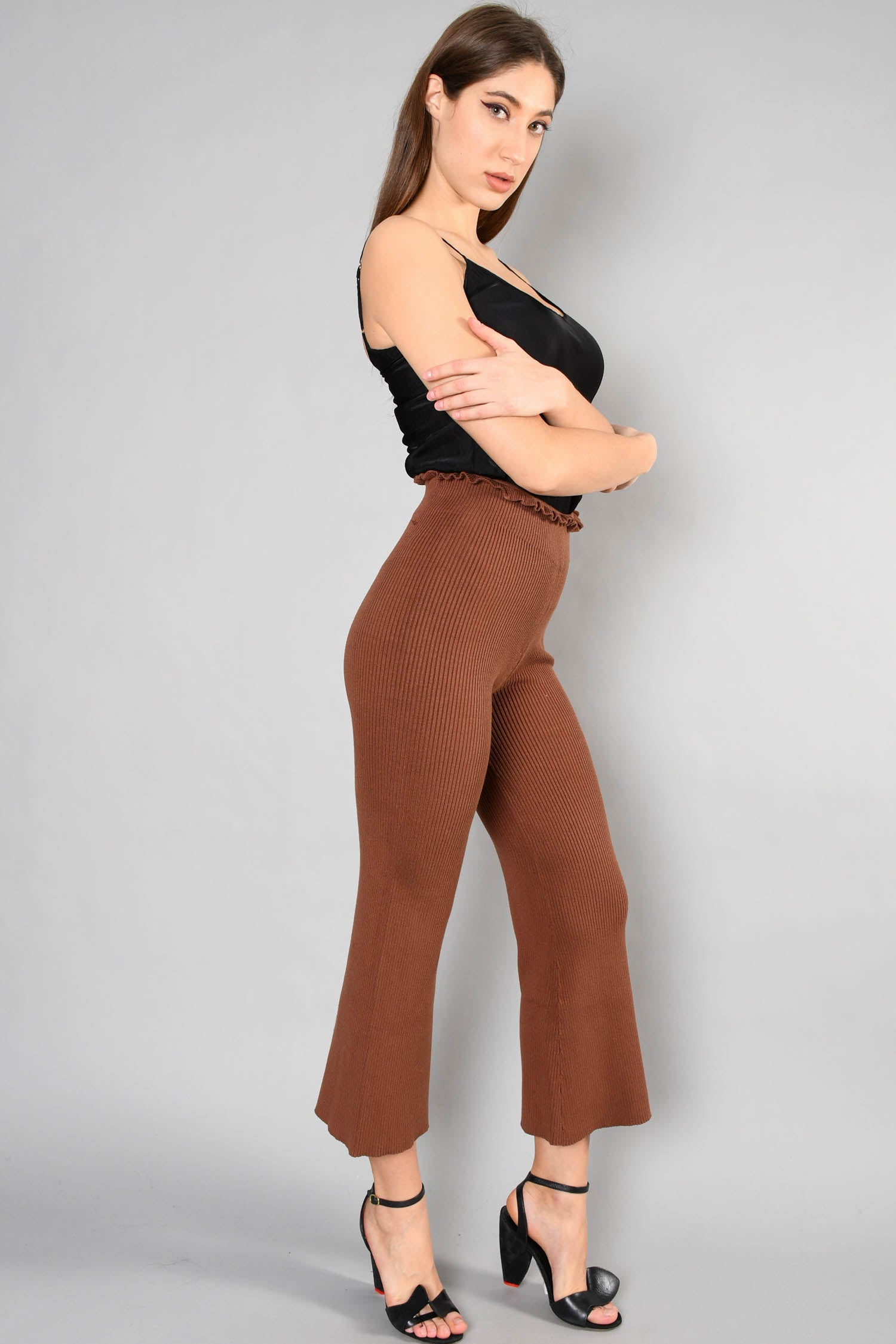 Majorelle Brown Ribbed Wide Leg Knit - The Sweet Heart Pants Size XS