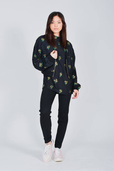 Stella McCartney Black McCartney Jacket with Gold Floral Detailing