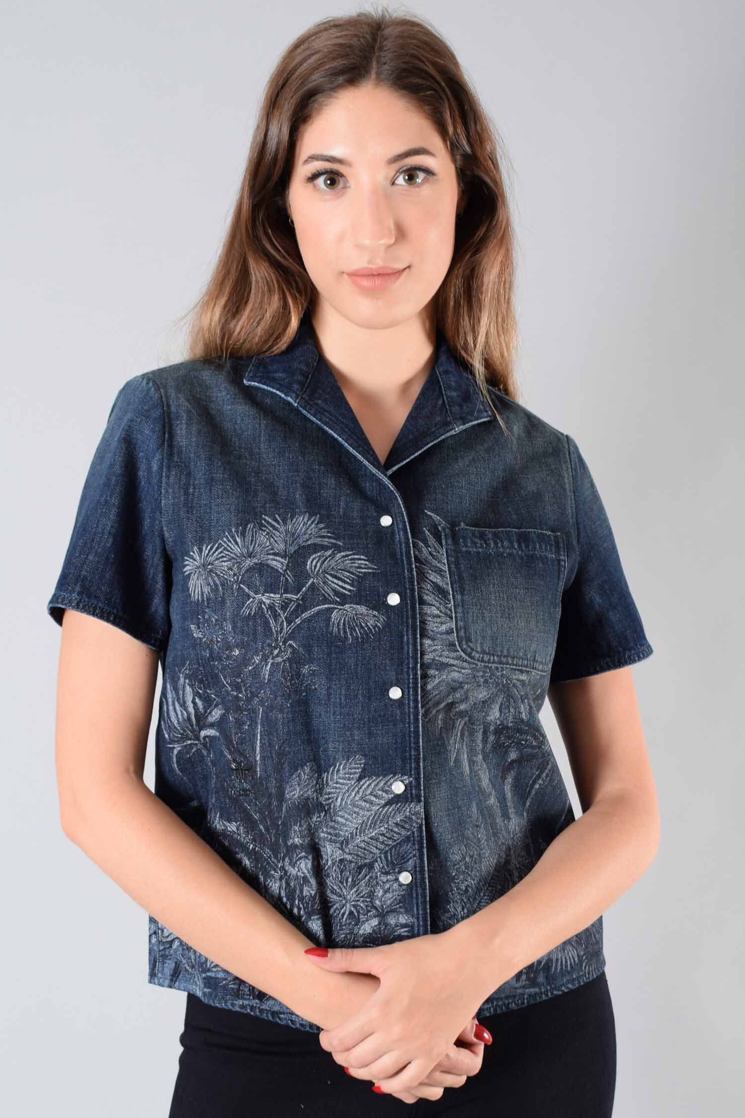 Christian Dior Dark Wash Denim S/S Button Up Size 6