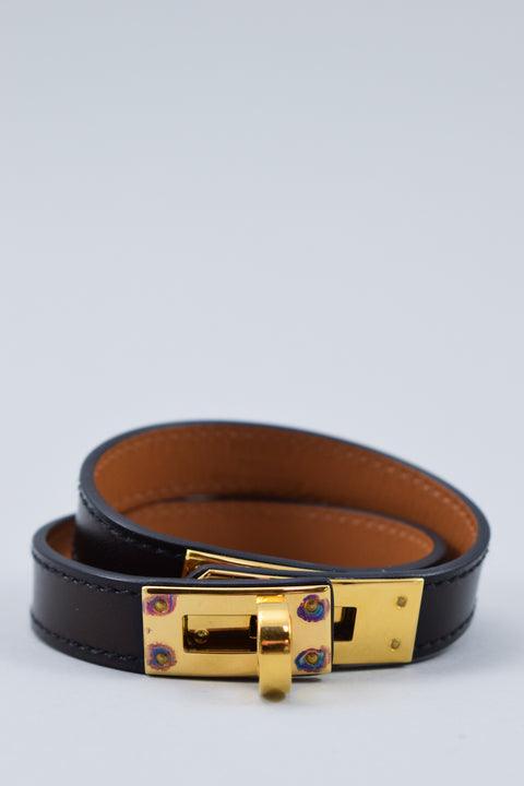 Hermes Black & Gold Kelly Double Tour Bracelet (wear)