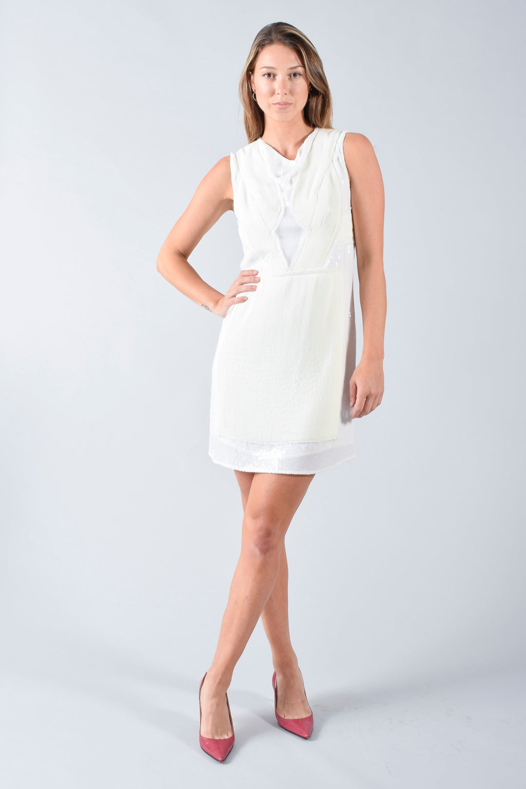 3.1 Phillip Lim White Sequin & Chiffon Dress Size 6