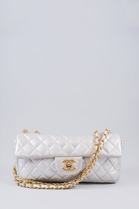 Chanel Silver Metallic East West Shoulder Bag