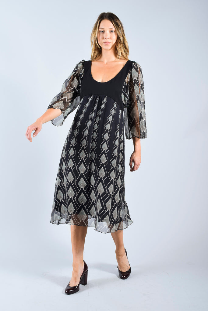 Temperley Black Print Chiffon Dress Size 10 NWT