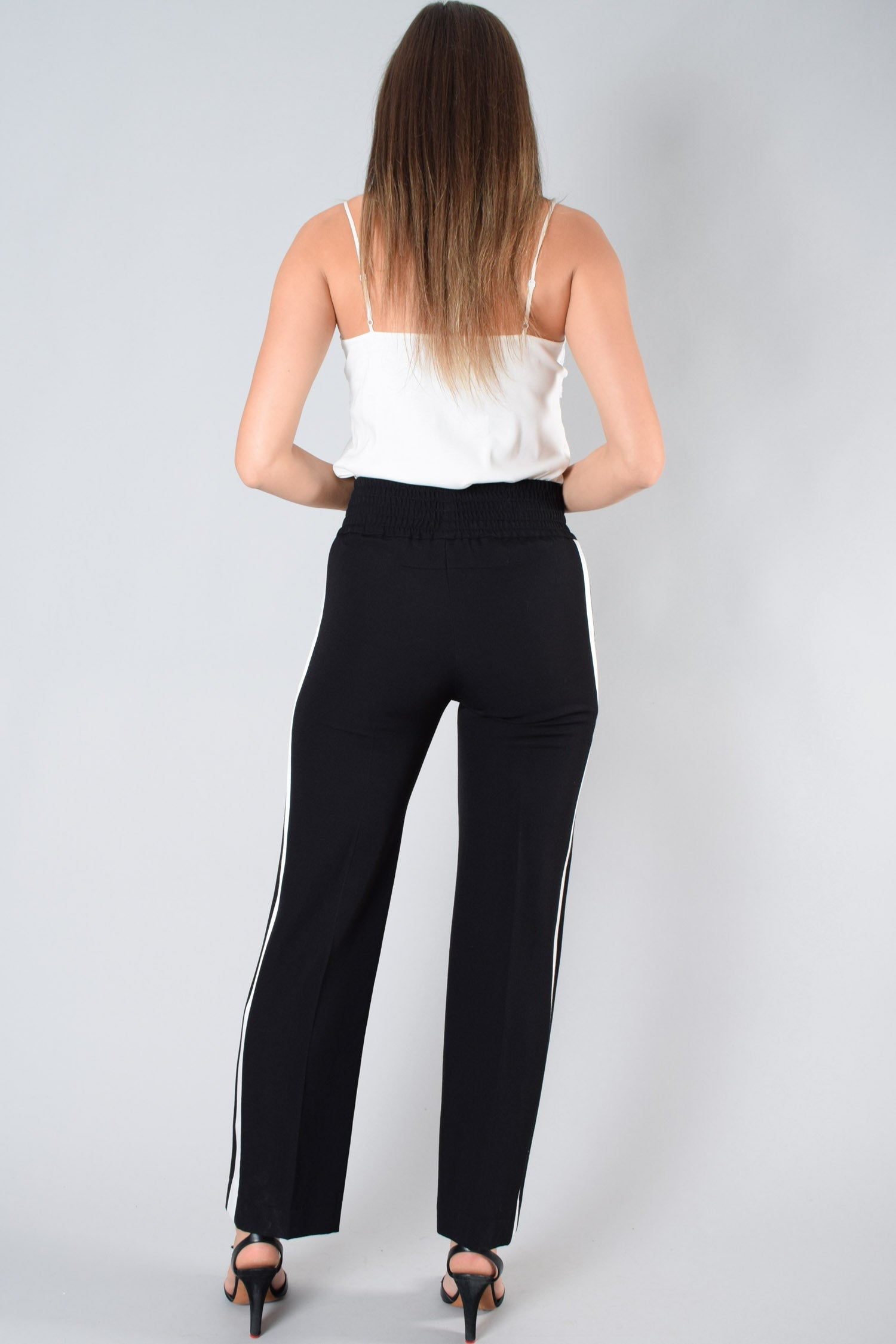 Givenchy Black High-Waisted Pants w/ White Stripe Size 34