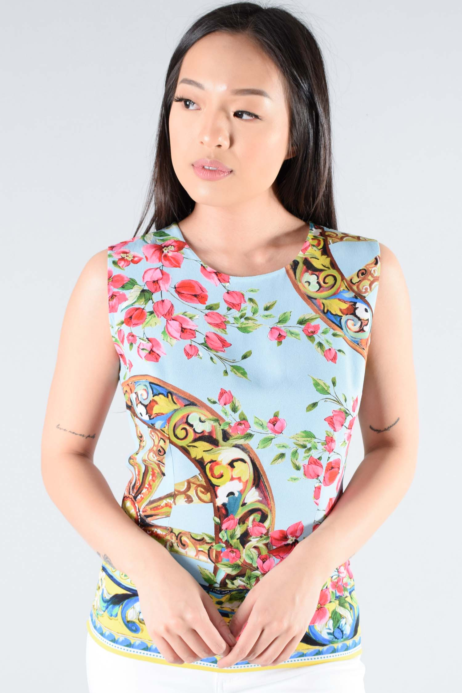 Dolce & Gabbana Blue Floral Sleeveless Top Size 40