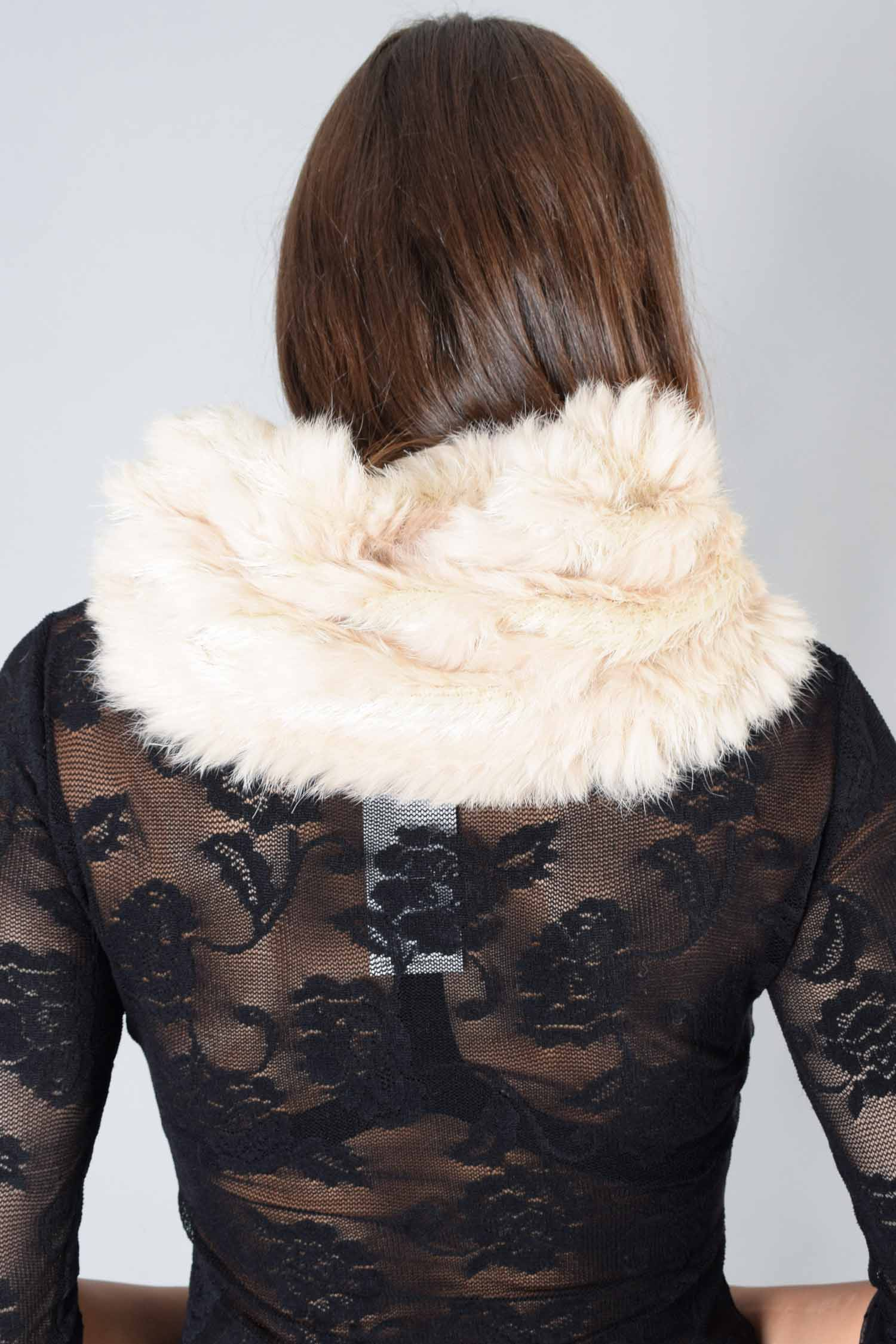 Marc Aurel Beige Rabbit Fur Collar