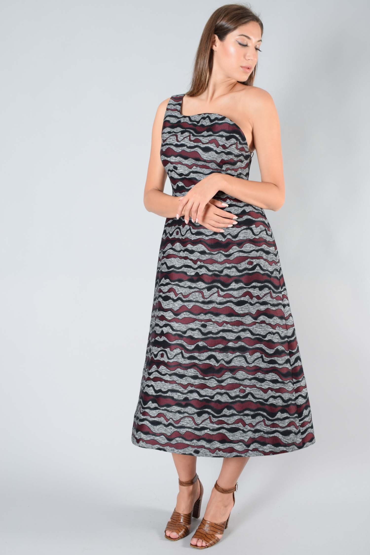 Roksanda Grey Wave Print One Shoulder Dress Size 14