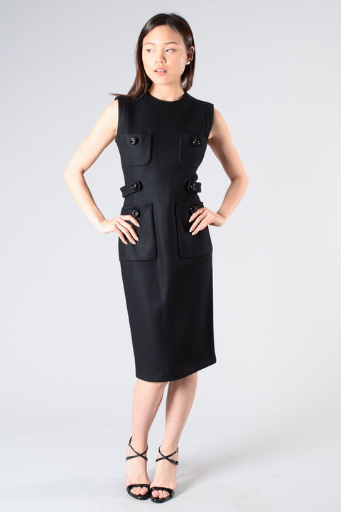 Dsqaured2 Black Wool Sleeveless Dress w/ Front Pockets Size L