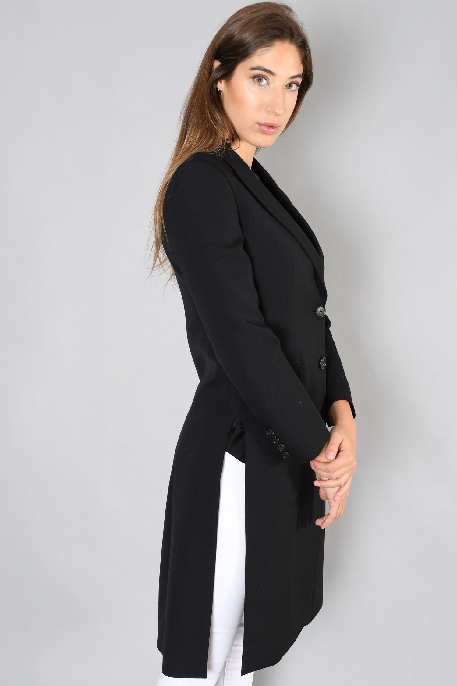 Givenchy Black Wool Coat w/ Satin Pocket Size 38