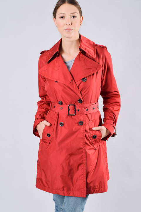 Burberry Red Nylon Classic Trench Sz 8