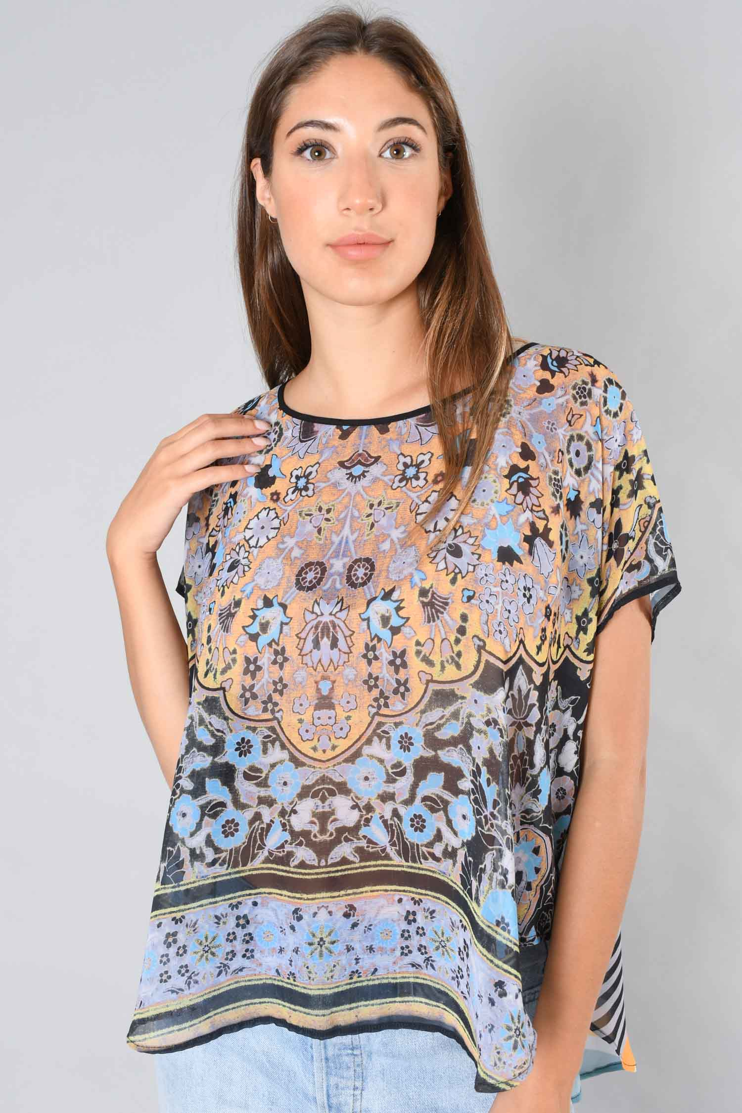 Clover Canyon Blue and Yellow Printed Sheer Poncho Size M