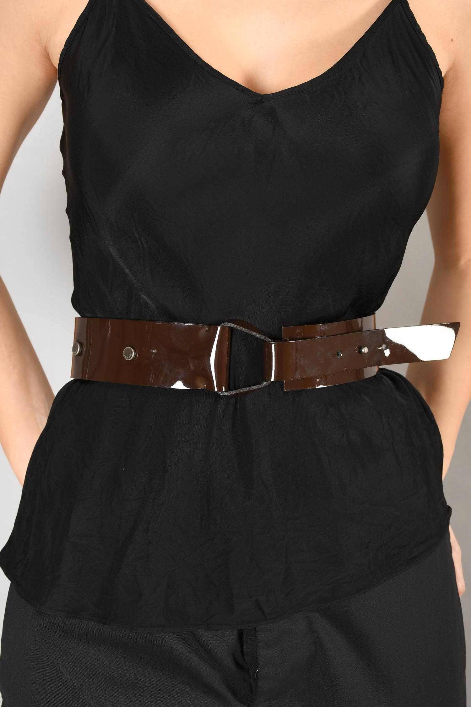 Marni Brown Patent Leather Belt Size 70
