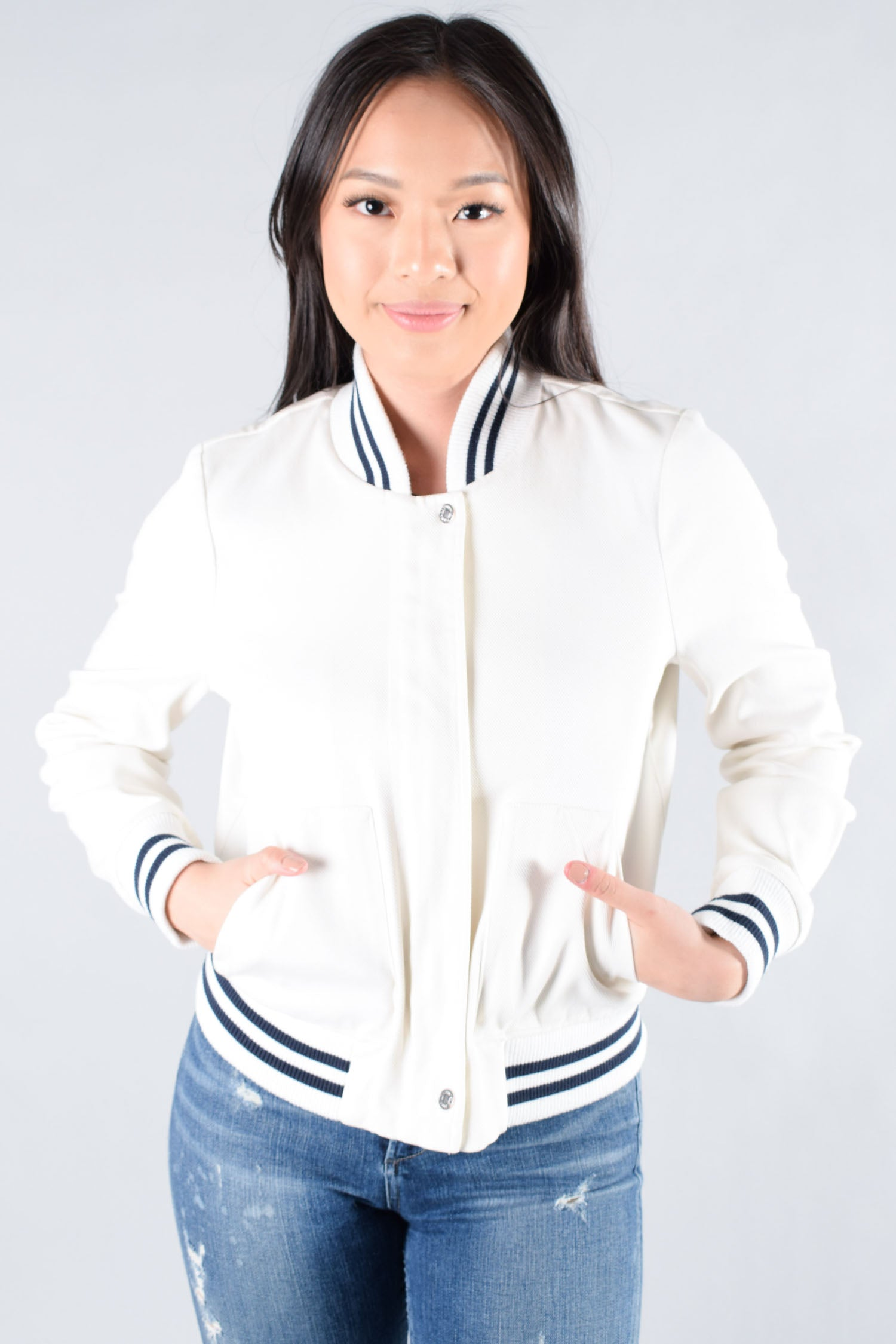 7 for All Mankind White Bomber w/ Navy Stripes Size XS