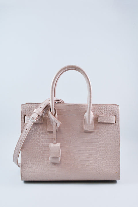 Saint Laurent Pink Classic Sac De Jour in Embossed Croc