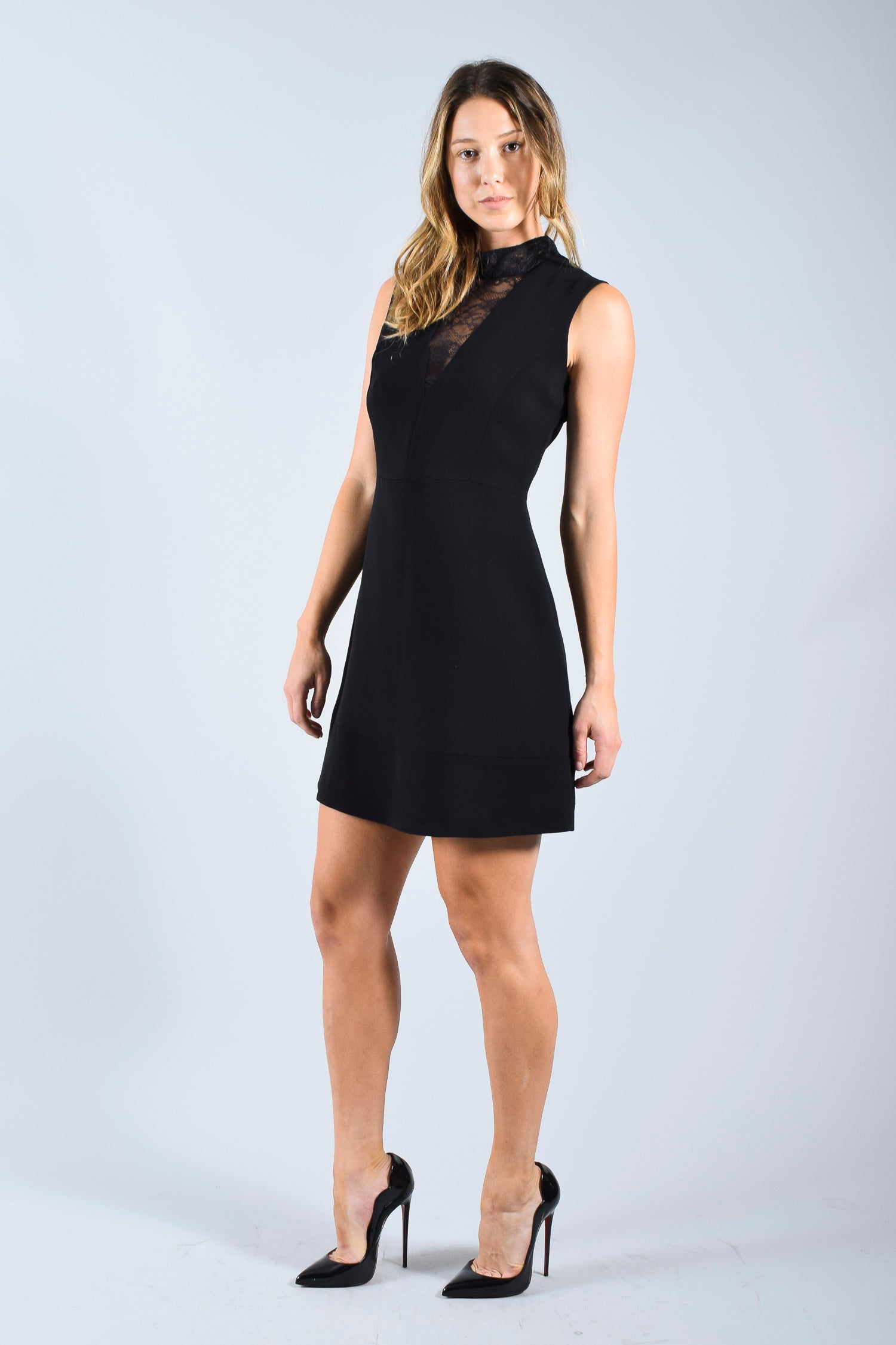 Sandro Black Sleeveless dress with Lace V-Neck