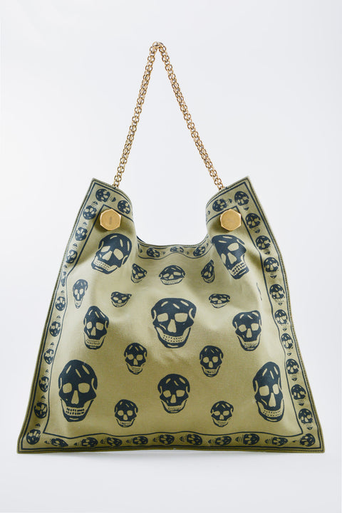 Alexander McQueen Khaki Skull Pattern Tote with Chain Strap