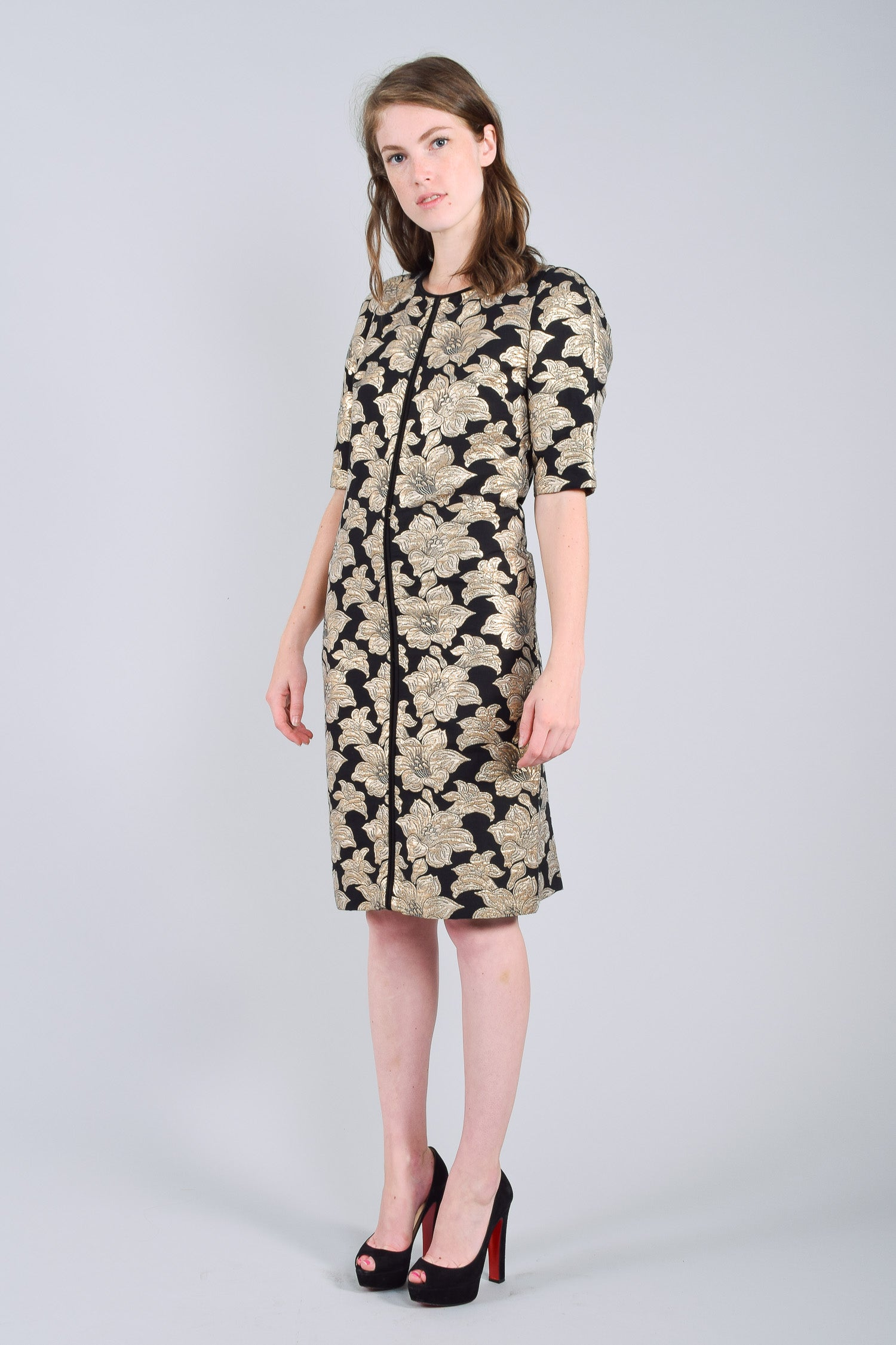 Marni Black and Gold Floral Brocade Short Sleeved Dress Size 40