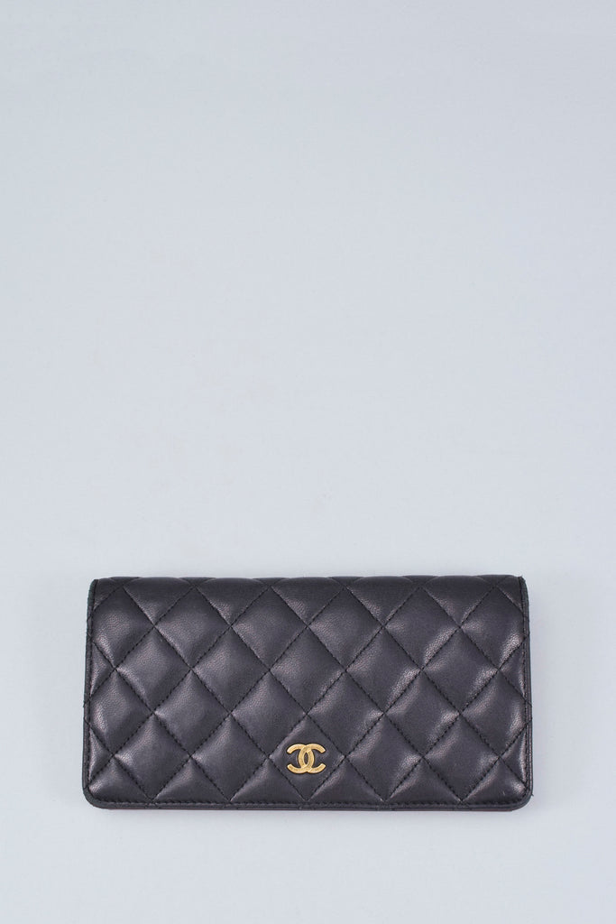Chanel Black Lambskin Quilted Large Wallet