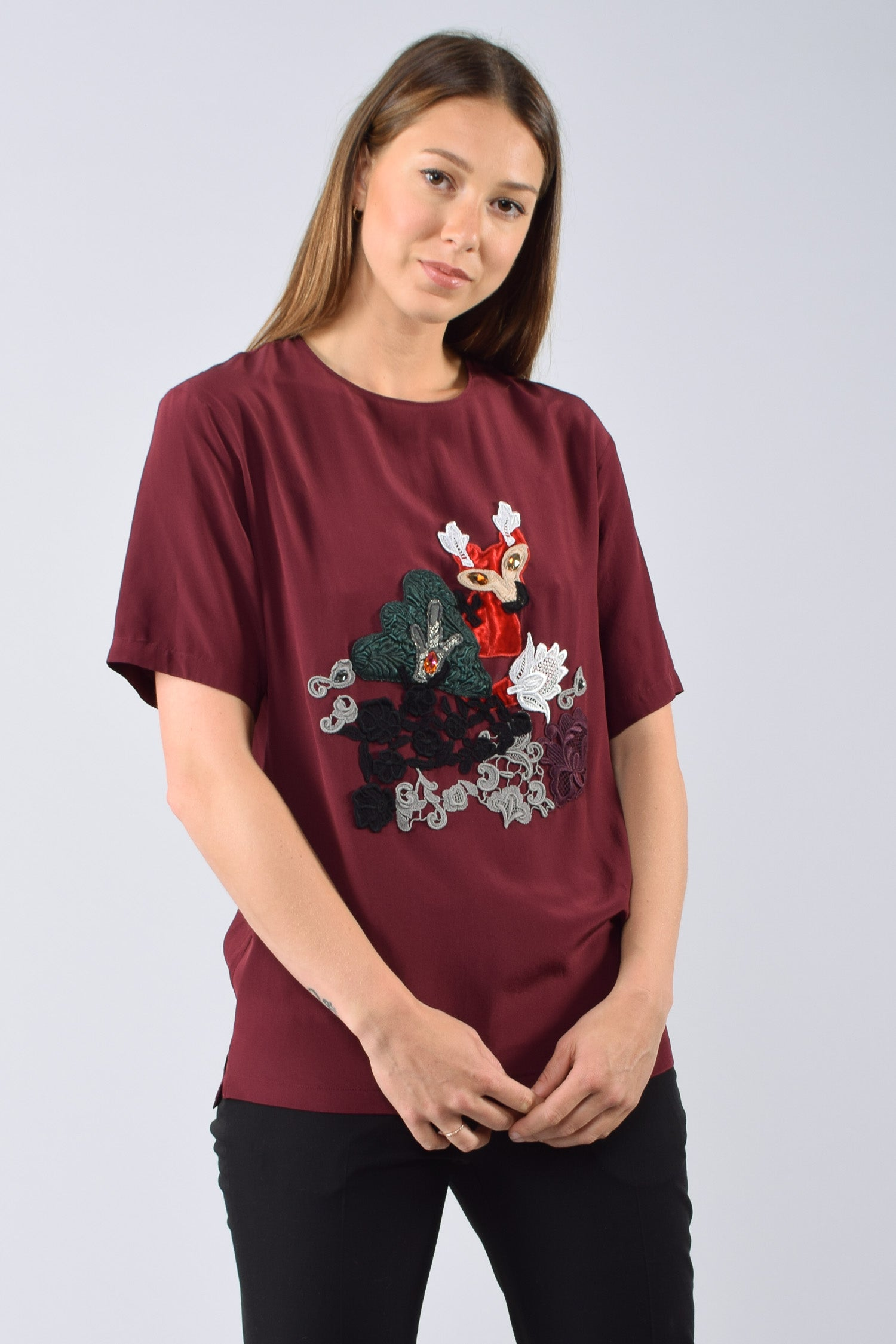 Dolce & Gabbana Burgandy Embroidered Fox Top Size 36 (As is)