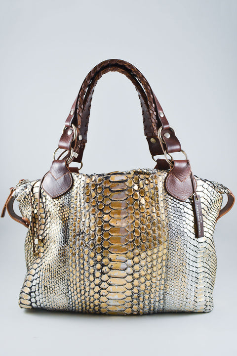 Pauric Sweeney Gold Python Top Handle Bag