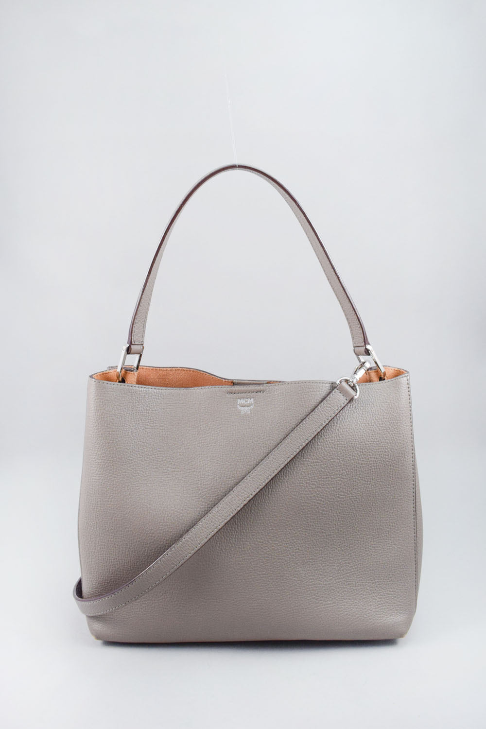MCM Grey Creta Y Sarah Medium Leather Hobo Bag