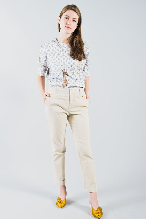 Gucci Cream Pants with Horsebit Details on Pockets Size 40