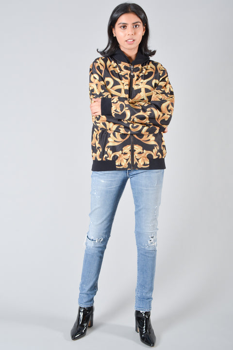 Versace Gold & Black Baroque Print Bomber Jacket