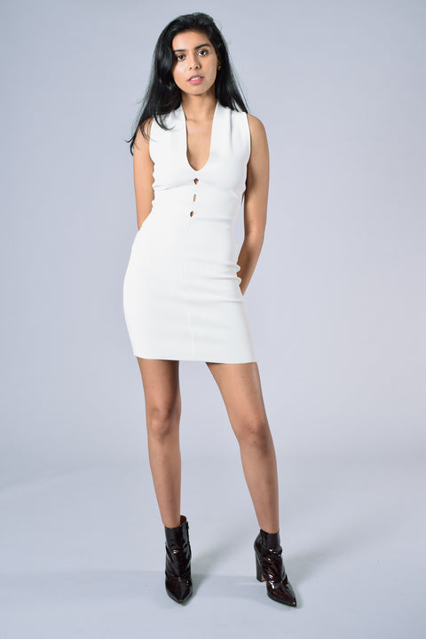 Alexander Wang White Sleeveless Plunge Dress Size S