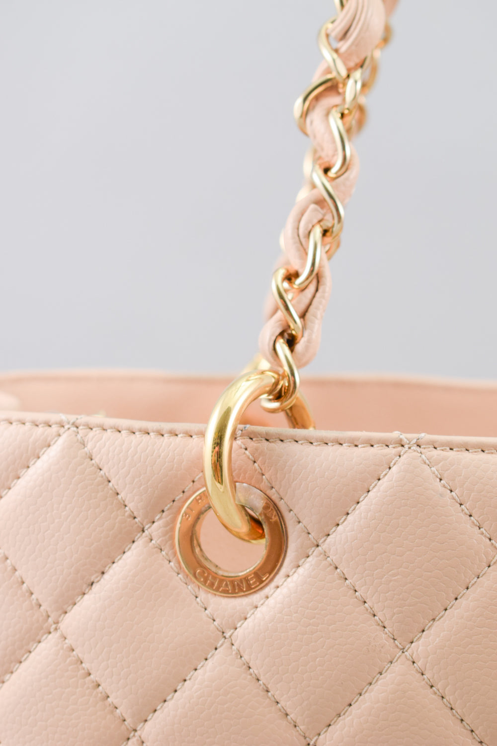 Chanel Beige Caviar Leather Grand Shopper Tote