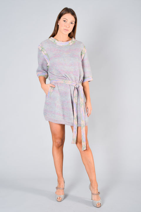Chanel Pink & Blue Mohair Sweater Dress w/ Belt Size 38