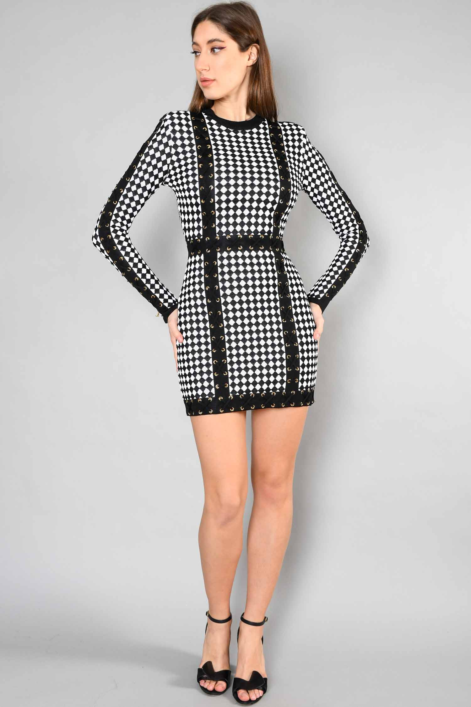 Balmain Black & White Lace-Up-Detailed Dress Size 38