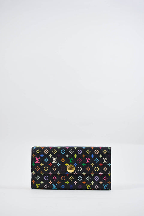 Louis Vuitton Black Takashi Murakami Multicolour Monogram Sarah Wallet