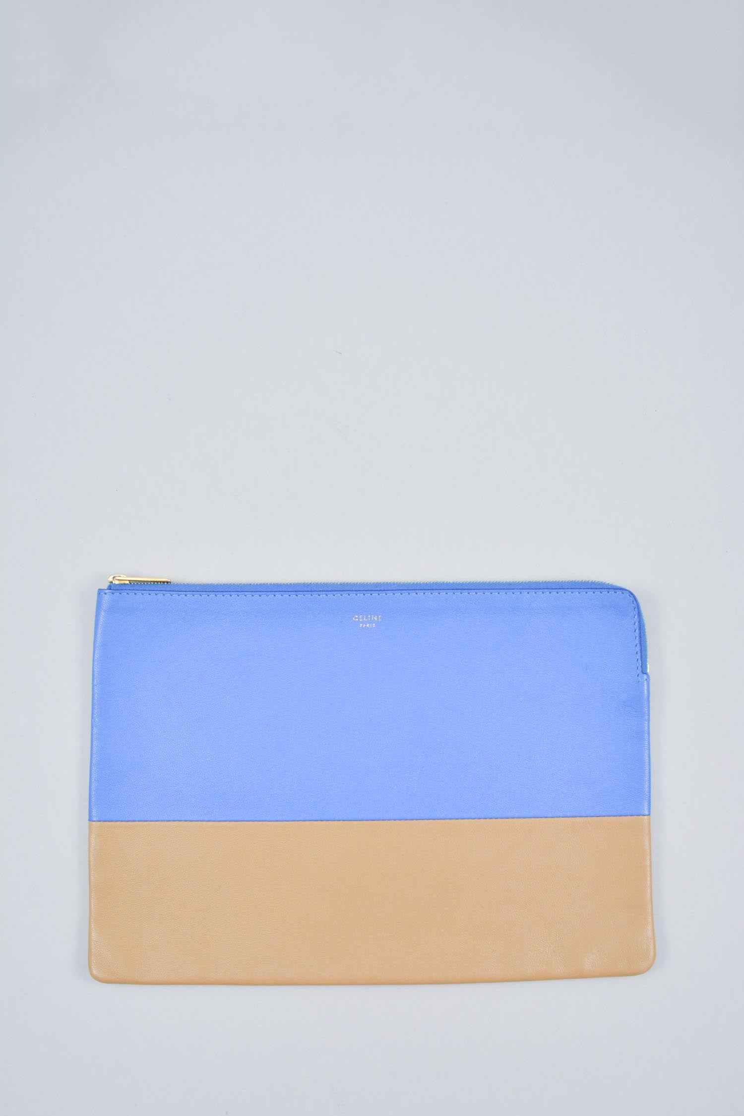 Celine Blue/Beige Leather Solo Zip Pouch