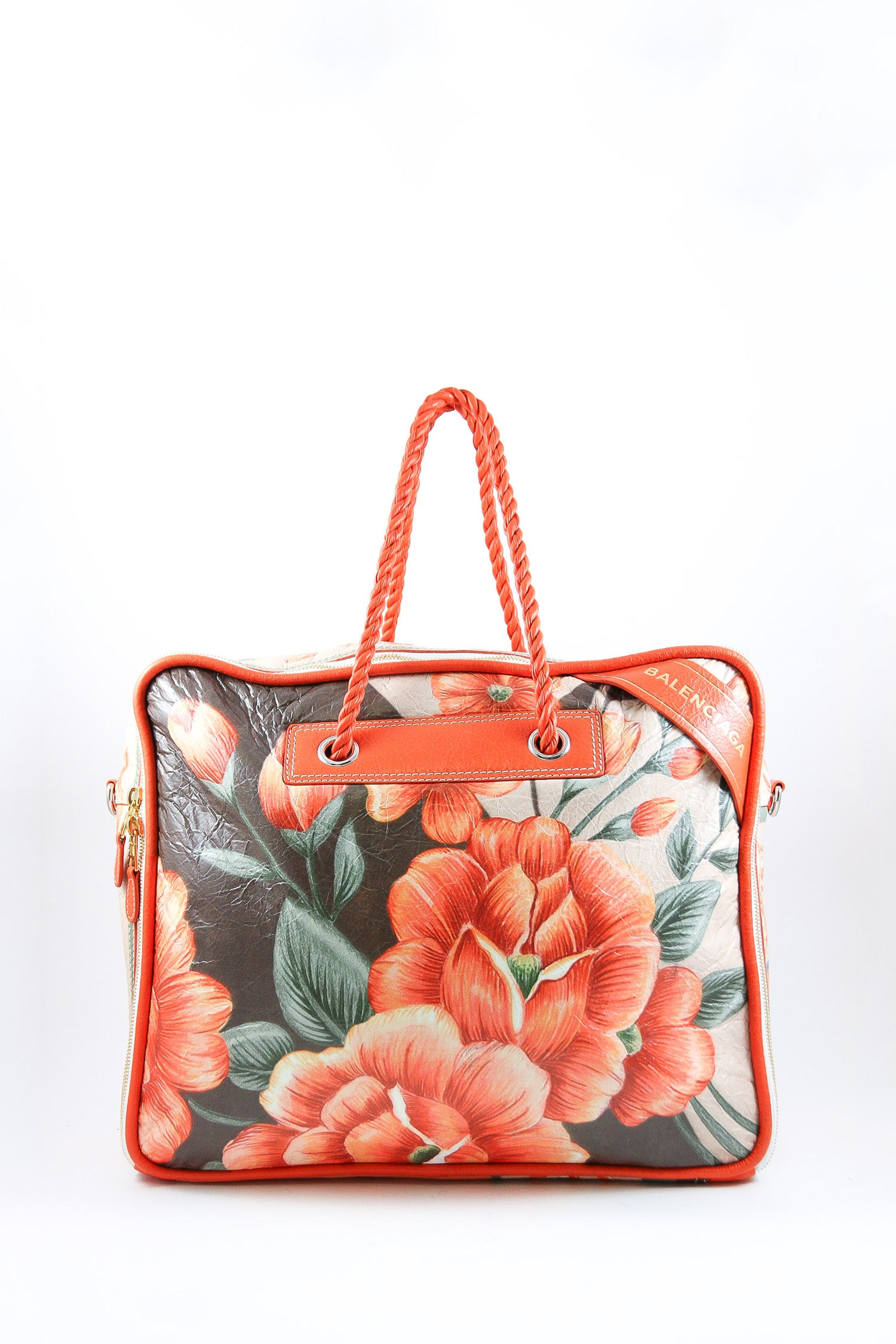 Balenciaga Orange Floral Blanket Square Bag