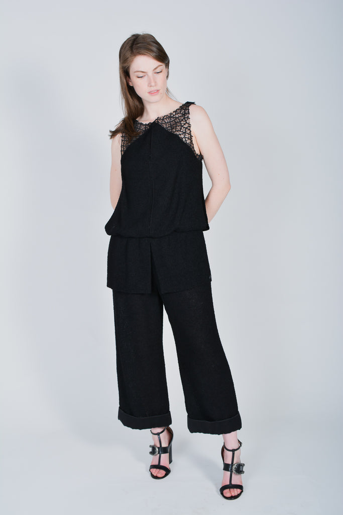 Chanel Black Tweed Jumpsuit with Rouching Size 38