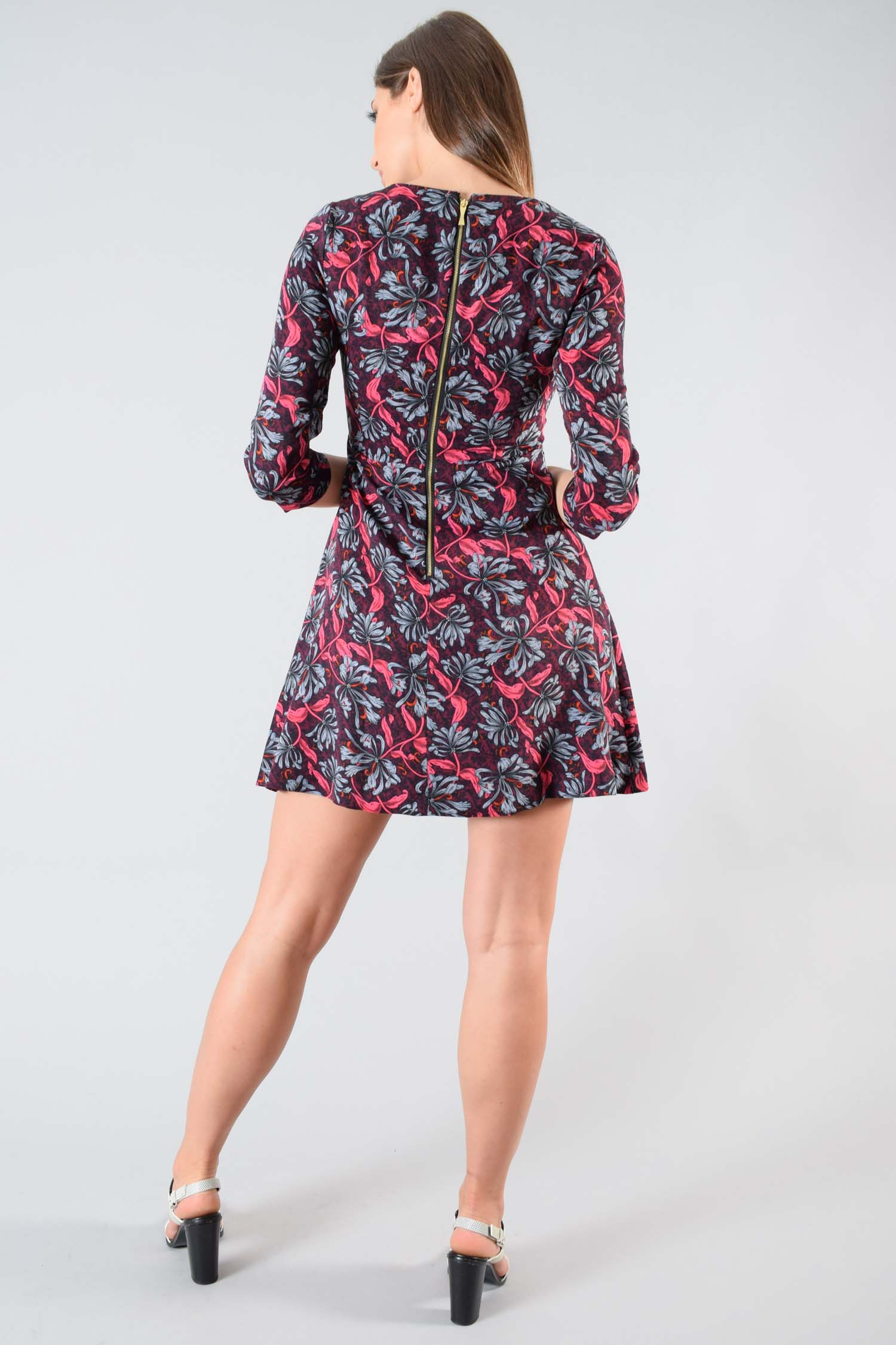 Rebecca Taylor Maroon Floral Printed Midi-Sleeve Dress Size 2
