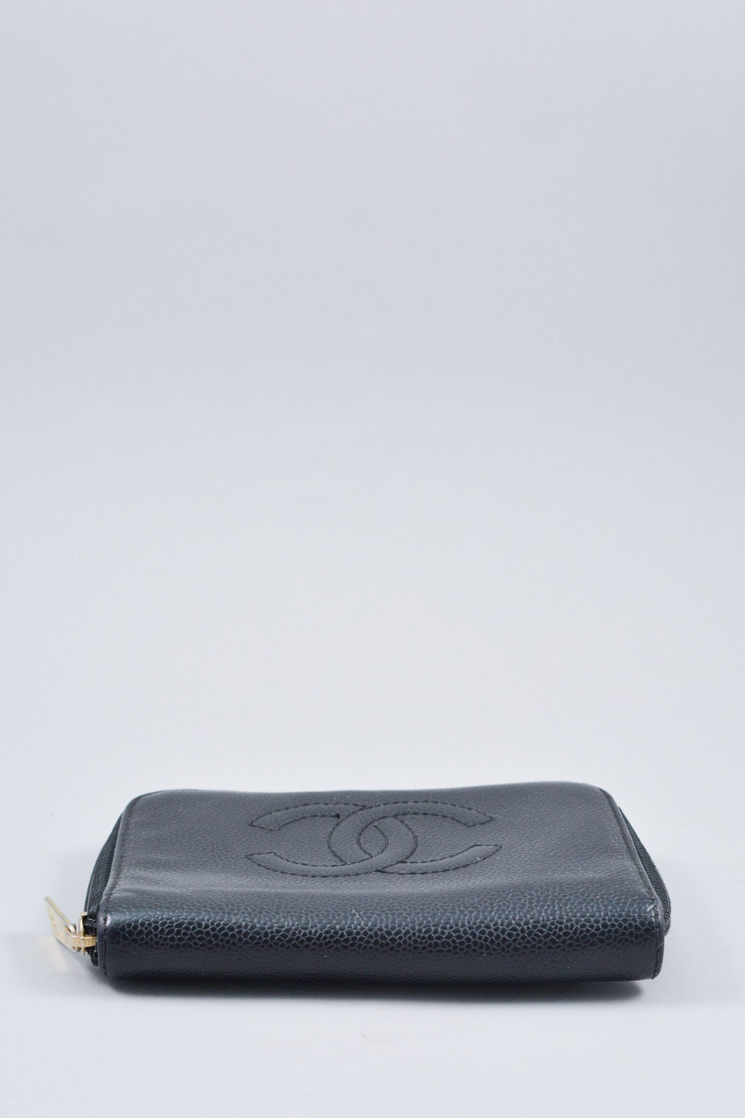 Chanel Black CC Zip Around Wallet