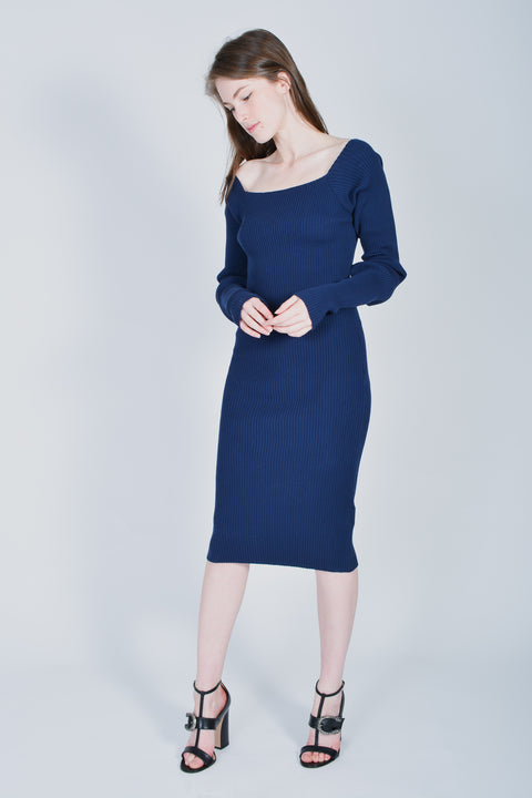 Jacquemus Navy Blue ribbed dress size 36