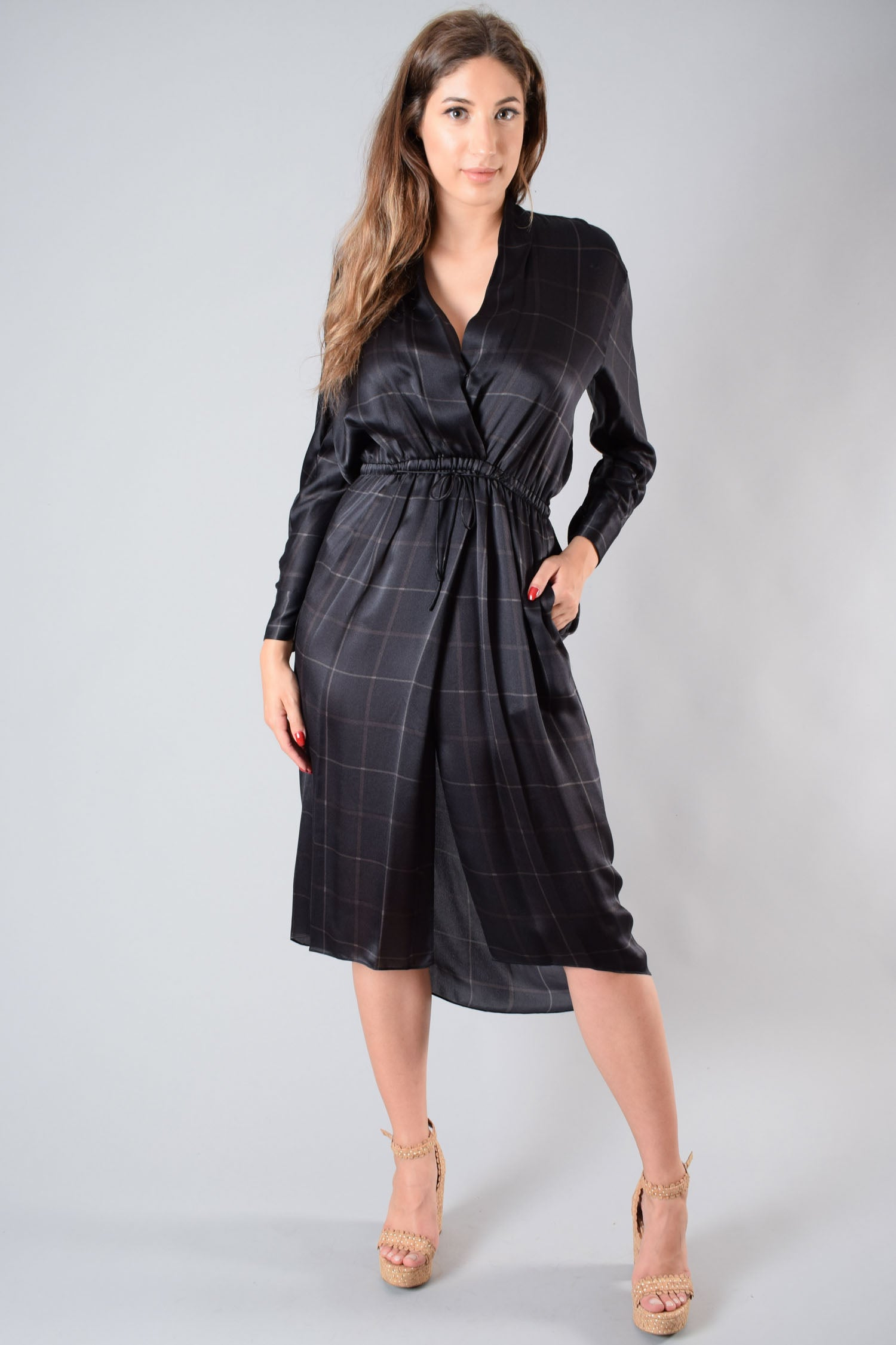 Vince Black Plaid Silk Maxi Dress Size S