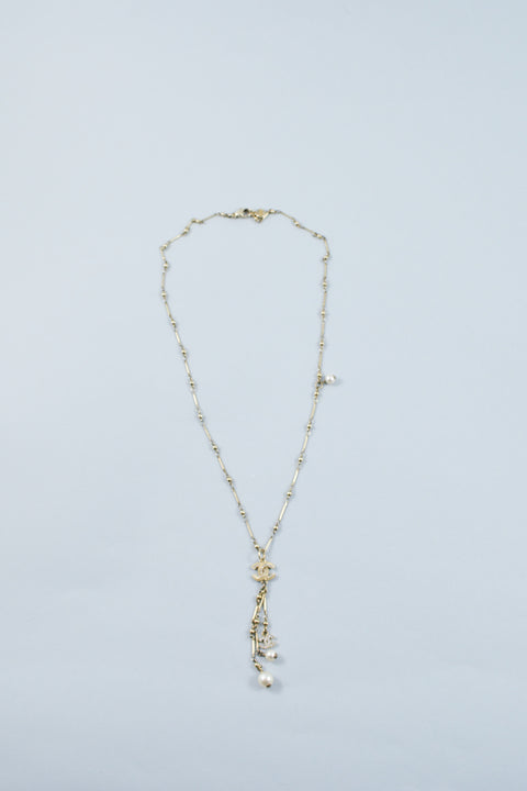 Chanel CC and Pearl Gold Drop Necklace Large